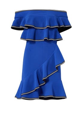 Cobalt Ruffle Mini Dress by Rebecca Vallance