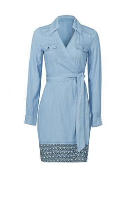 Savion Collared Chambray Wrap Dress by Diane von Furstenberg