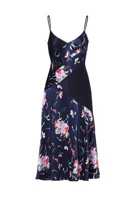 Navy Falling Floral Charmeuse Dress by Prabal Gurung