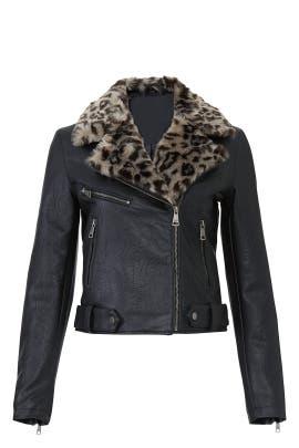 Leopard Collar Faux Leather Jacket by VIGOSS