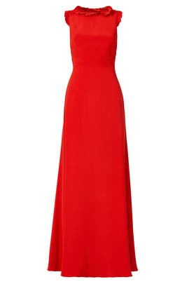 Red Ruffle Crossback Gown by Jill Jill Stuart