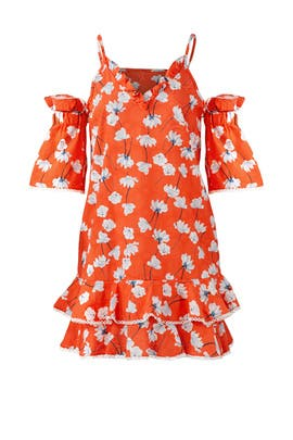 Vermilion Floral Bubble Sleeve Dress by Nicholas