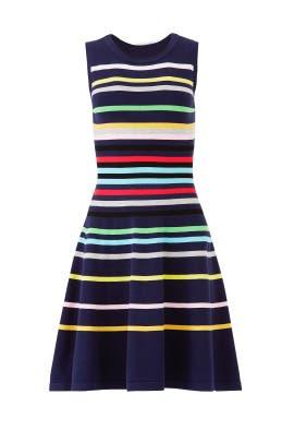 Rainbow Stripe Knit Flare Dress by Milly