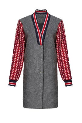 Grey Wool Varsity Coat by English Factory
