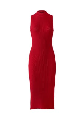 Red Ribbed Sheath by Nicole Miller