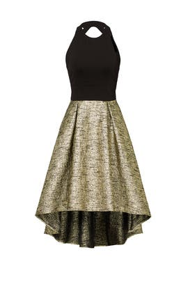 Black and Gold High Low Dress by Hutch