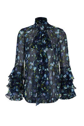 Sheer Floral Tie Neck Blouse by Prabal Gurung