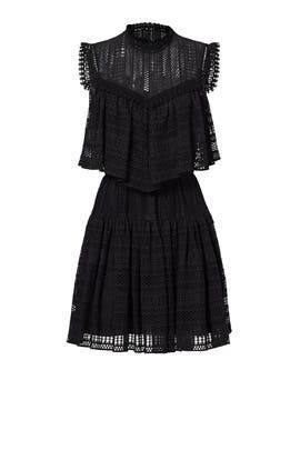 Black Eyelet Ruffle Dress by Philosophy di Lorenzo Serafini