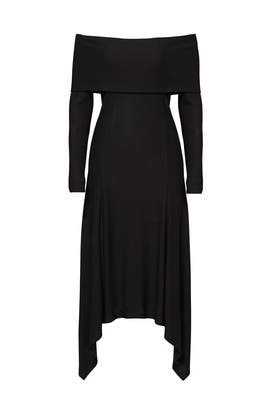 Black Fold Over Shoulder Dress by DEREK LAM