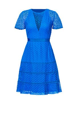 Blue Illusion Lace Dress by Adelyn Rae