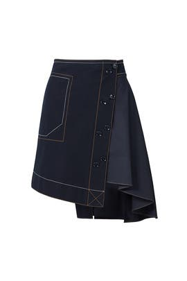 Midnight Navy Asymmetrical Skirt by Derek Lam 10 Crosby