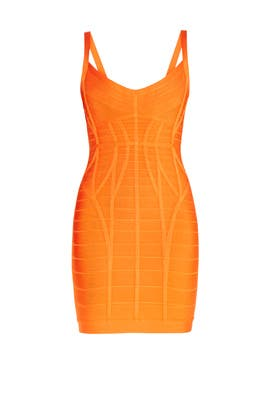 Orange Kollete Novelty Dress by Hervé Léger