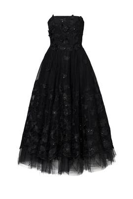 Black Butterfly Tea Dress by Marchesa Notte