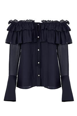 Crinkle Chiffon Top by Opening Ceremony