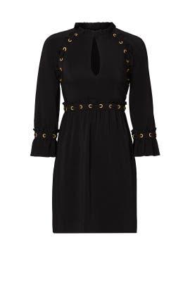 Black Grommet Stitch Dress by Rachel Zoe