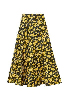 Yellow Flare Midi Skirt by DEREK LAM