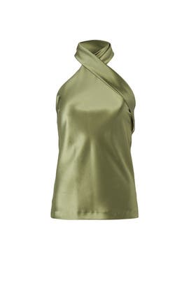 Olive Cross Halter Top by GALVAN