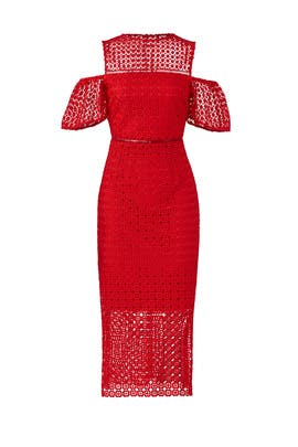 Red Lace Midi by Slate & Willow