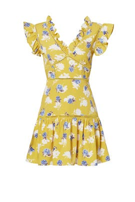 Yellow Floral Ruffle Dress by J.O.A.