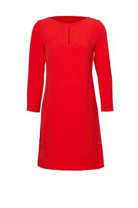Red Trim Slit Dress by Lela Rose
