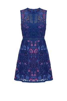 Royal Blue Floral Dress by Marchesa Notte