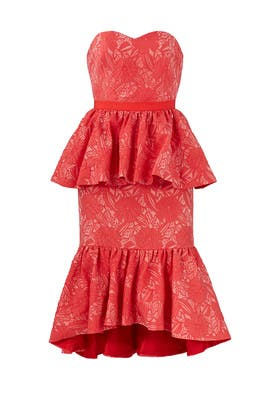 Red Floral Peplum Dress by Christian Pellizzari