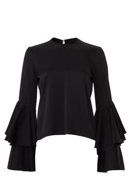 Black Flared Top by GALVAN