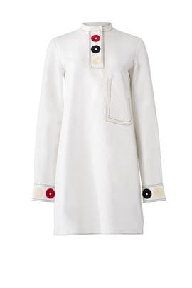 White Embroidered Shirtdress by DEREK LAM