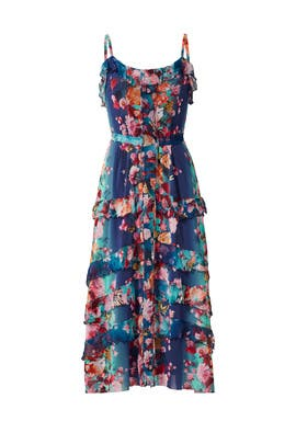 Blue Floral Printed Midi Dress by Fuzzi
