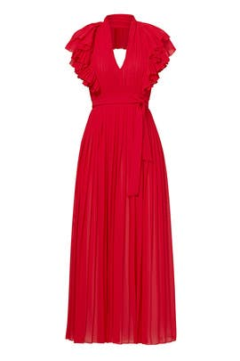 Red Flamenco Ruffle Halter Gown by Philosophy di Lorenzo Serafini