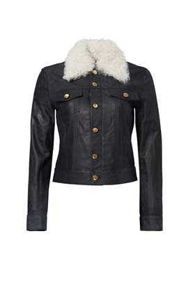 Indigo Shearling Collar Leather Jacket by Derek Lam 10 Crosby