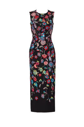 Multi Floral Embroidered Dress by ML Monique Lhuillier