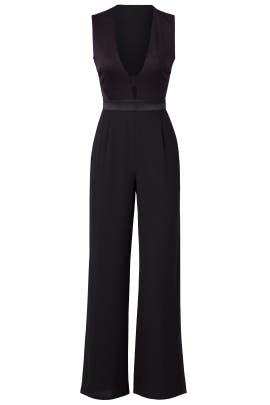Black Kyara Tux Jumpsuit by Diane von Furstenberg