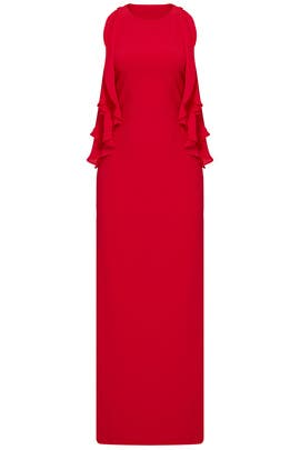 Red Draped Ruffle Gown by Parker