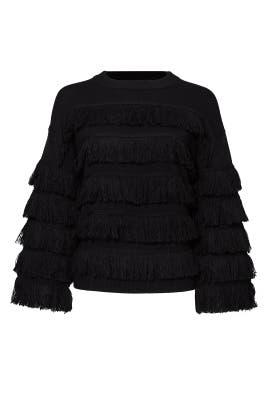 Black Ruffle Sweater by English Factory