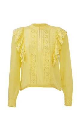 Yellow Embroidered Ruffle Top by Scotch & Soda