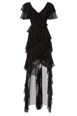 Black Ruffle High Low Gown by Badgley Mischka