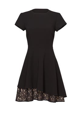 Black Peekaboo Lace Hem Dress by Slate & Willow