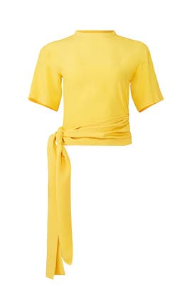 Yellow Waist Tie Blouse by Cedric Charlier