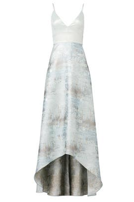 Metallic Blue Gown by Badgley Mischka