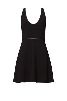 Black Deep V Dress by Halston Heritage