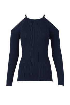 Blue Ribbed Sweater by Trina Turk