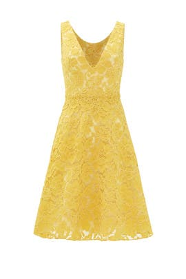 Yellow Lace Sleeveless Dress by ML Monique Lhuillier