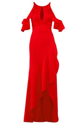 Red Ruffle High Low Gown by ML Monique Lhuillier