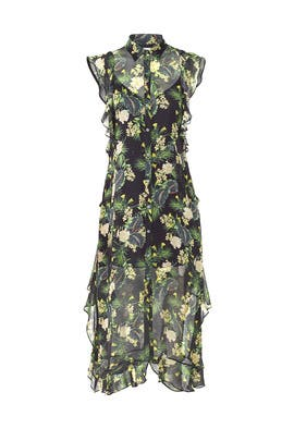 Green Floral Printed Midi Dress by Marissa Webb