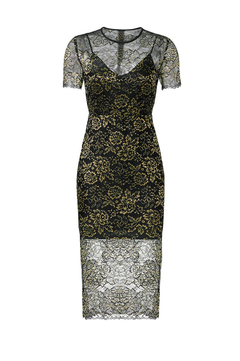 c40437cced0 Gold Lace Sheath by Diane von Furstenberg for $70   Rent the Runway