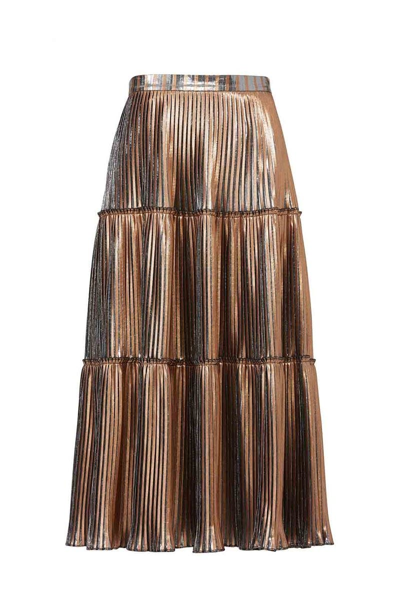 Gold mini skirts size 25 Gold Two Tone Pleated Skirt By Nicole Miller For 45 60 Rent The Runway