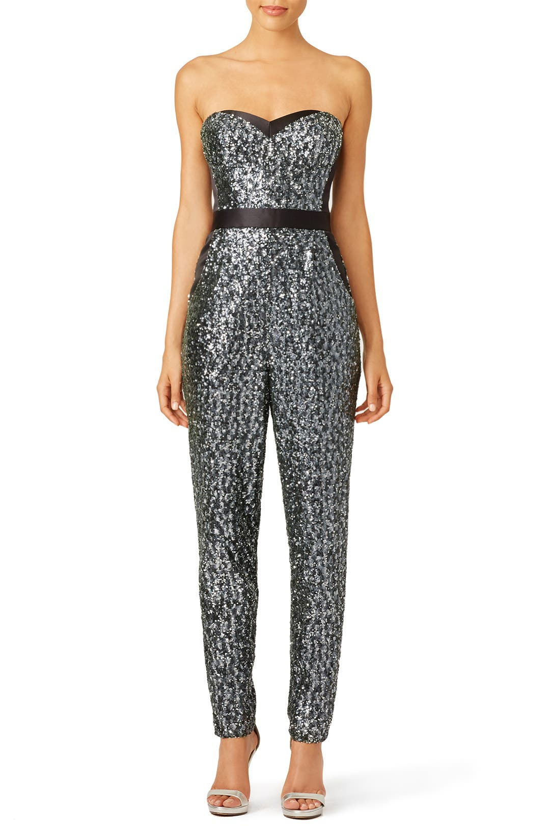 Silver Sequins Bustier Jumpsuit by Milly for $80 - $95 ...