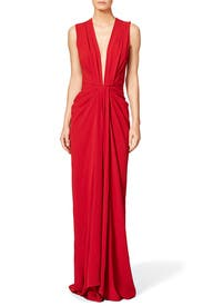Red Plunge Gown by Thakoon