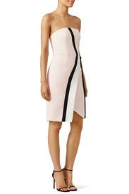 Pink Asymmetric Graphic Crepe Dress by J. Mendel